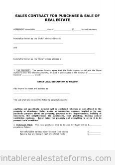 Free CONTRACT TO SELL ON LAND CONTRACT Printable Real Estate Document