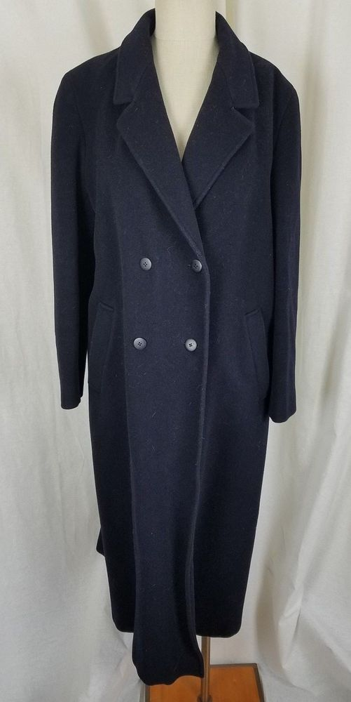 Vintage Liberty Navy Blue Cashmere Wool Long Maxi Peacoat Coat Womens 14 England #Liberty #Peacoat #Outdoor
