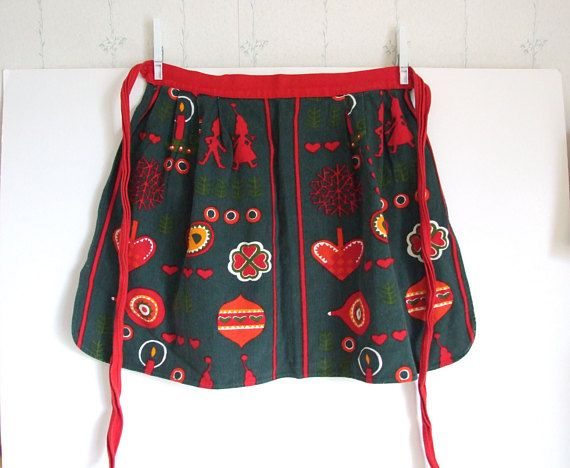 Retro Christmas Motif  Half Apron Swedish 60s // Kitchen Apron