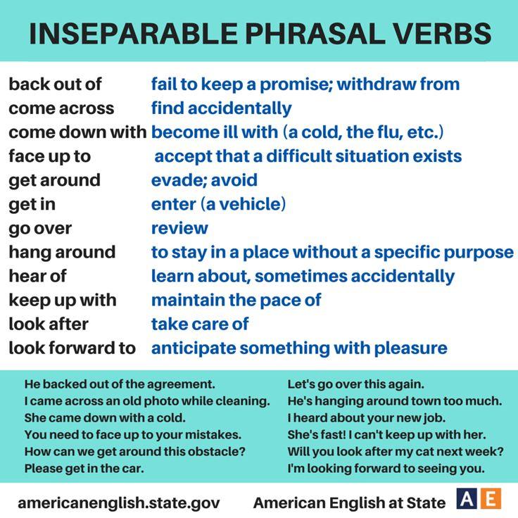 Inseparable Phrasal Verbs