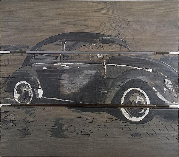 """VW Kever"" acryl op gebruikte schuttingplanken, 45x40cm  https://www.facebook.com/DirkVeldmanSchilderijen"