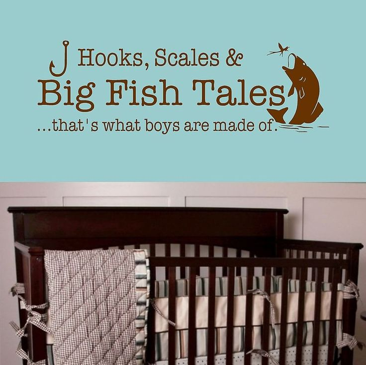 Big Fish Tales- that's what boys are made of- Vinyl Wall Decal Boys Room Decor