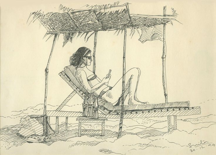 sketch in pen on location of Baga beach, Goa, india