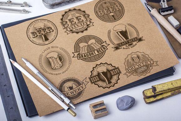 9 Vintage brewery beer logos by SiberianArt on @creativemarket