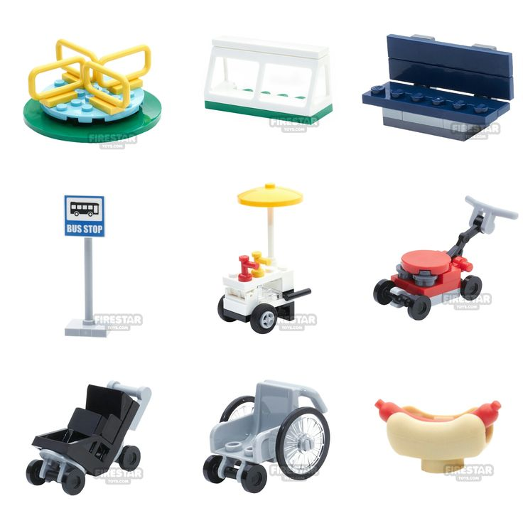 Awesome new LEGO minifigure accessories including a baby stroller and wheelchair.