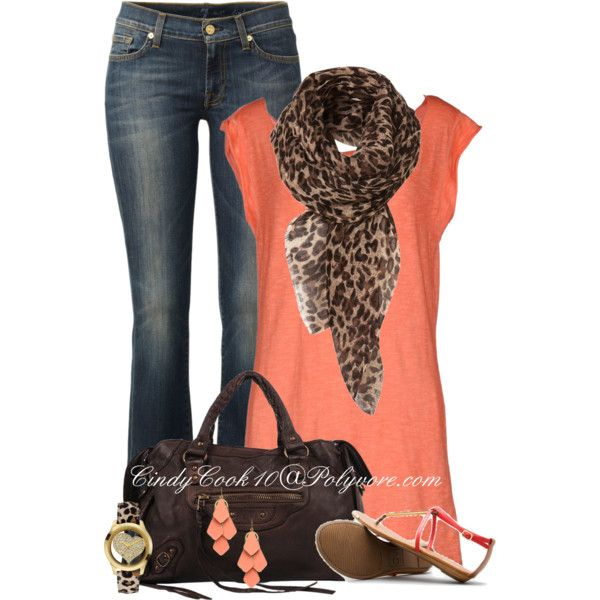 My two loves, leopard and coral, created by cindycook10 on Polyvore
