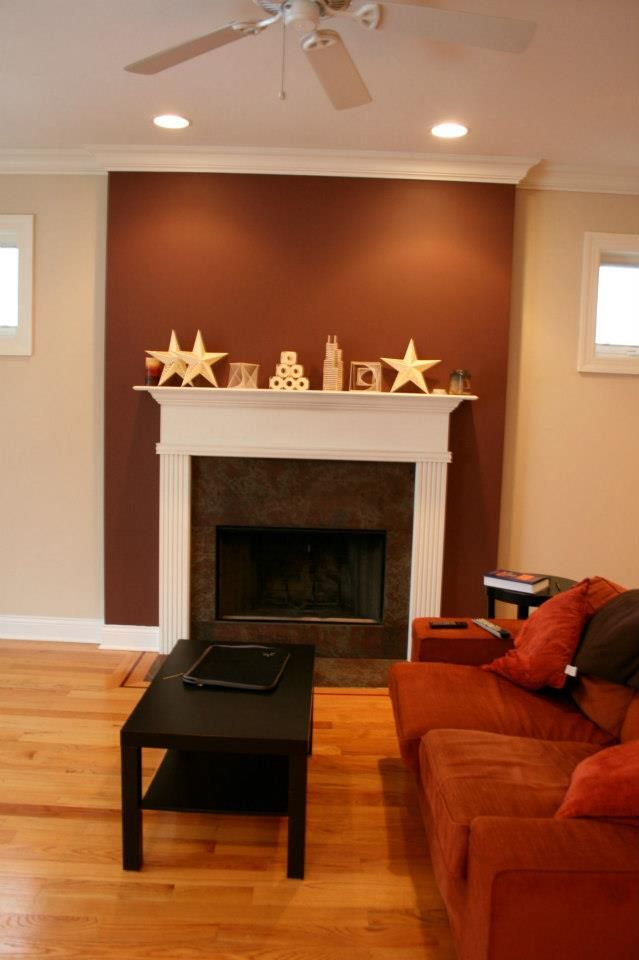 Like the idea of highlighting the fireplace with a color definition  seperate from the other walls