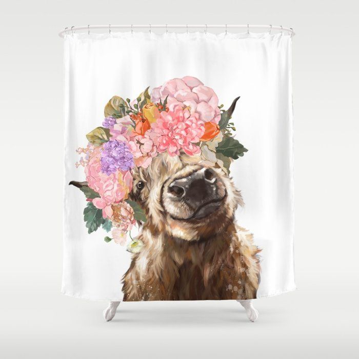 Highland Cow With Flower Crown Shower Curtain Highland Cow