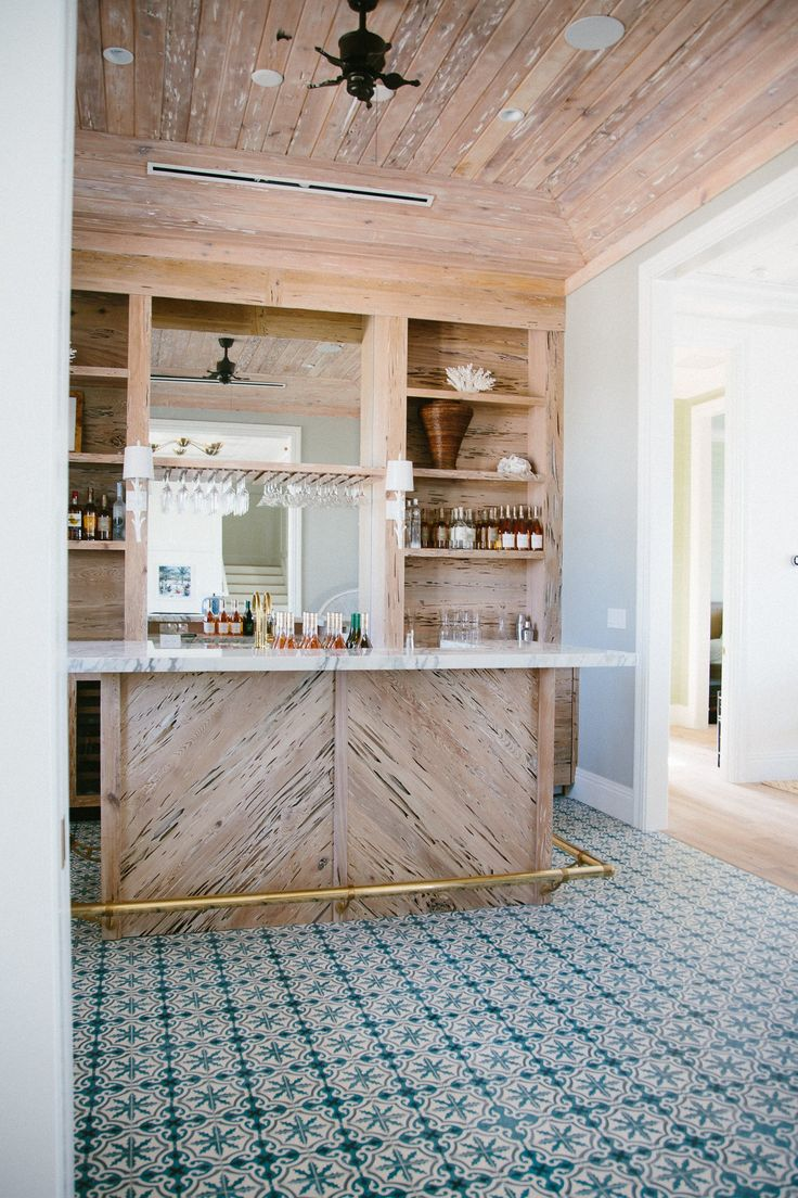 Best Places Ever: Bahamas Beach House | Worm-eaten Wood Bar and Cuban Tile Flooring