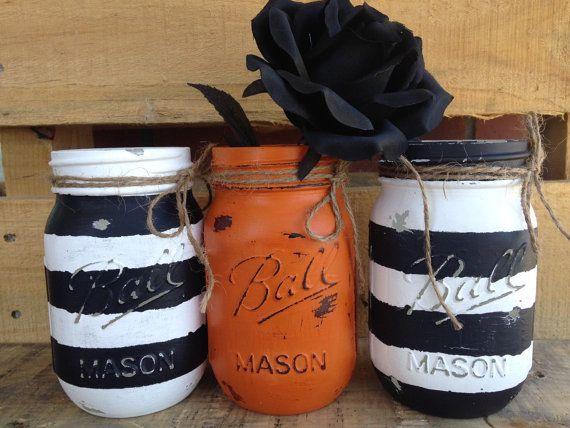 Painted Mason Jars. Halloween Jars. Halloween Decor. Fall Decor. Vases. Candy…