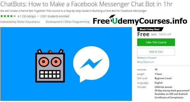 [Udemy #BlackFriday] #ChatBots : How to Make a Facebook Messenger Chat Bot in 1hr   About This Course  Published 6/2016English  Course Description  > Only Course on Chatbots on Udemy! Facebook is already reporting that over 11000 Bots Have Been Built and more are coming. Join the Bot Revolution!<  You willLearn How to Build a ChatBot for Facebook Messenger in 1 Day!This course was based onone of the features of our 'Smart Notes Bot' which parrots back what the user types.  In this course we…