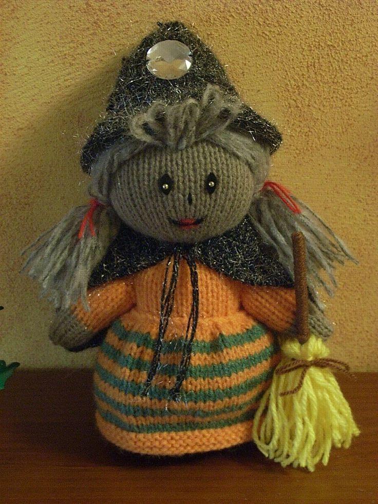 """Bruja de punto. A partir del patrón """"Witch"""" de Jean Greenhowe: http://www.jeangreenhowe.com/dolls.html Knitting witch"""