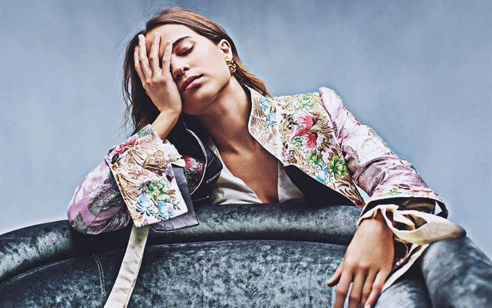 Download wallpapers 4k, Alicia Vikander, 2018, Hunger, photoshoot, beauty, swedi…