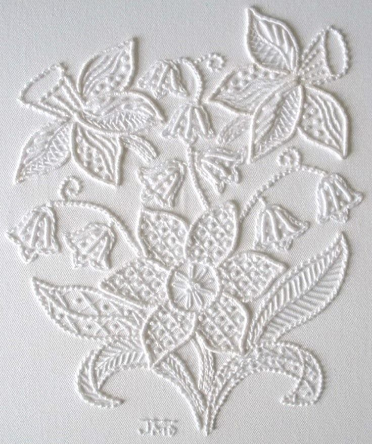 """Truly perfect for Spring, this is """"Daffodils Please"""" from designer Janet M. McDonald.  The design features a bouquet of daffodils and snowdrops. This is done in the Mountmellick. Mountmellick embroidery is a style of surface embroidery named after the town Mountmellick in Ireland.   The Mountmellick style was first developed around 1835 and was a natural extension as the town was already known for its linen and cotton milling.   Image courtesy of Janet's website at…"""