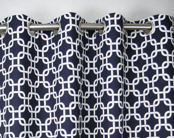 navy blue white modern chain link gotcha curtains grommet