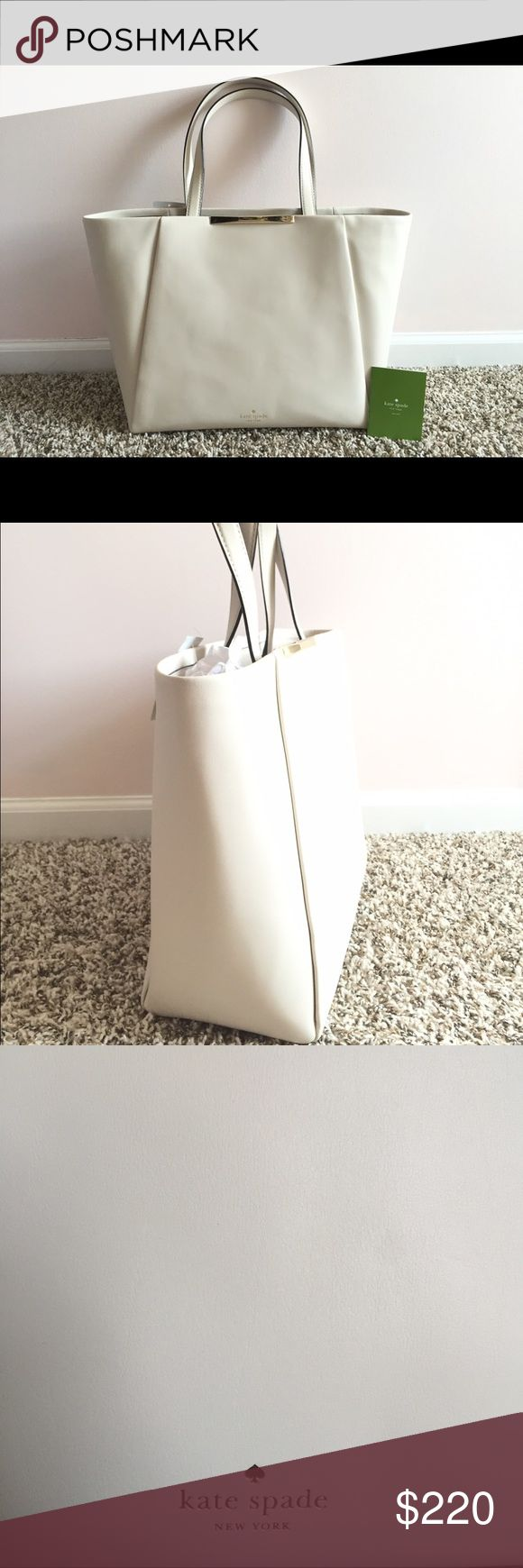 Kate Spade Lenora Camden Way cream tote bag This buttery soft, leather tote is ideal for wherever the day takes you--work, school, juggling kids' schedules, this bag can handle (and hold) it all. And you'll look incredibly elegant while doing it! This item is in beautiful, brand new with tags condition. kate spade Bags Totes