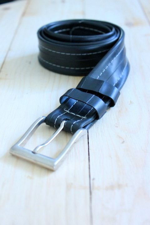 Reused Black Bike Tire Belt by OriginReycledGoods on Etsy, $20.00