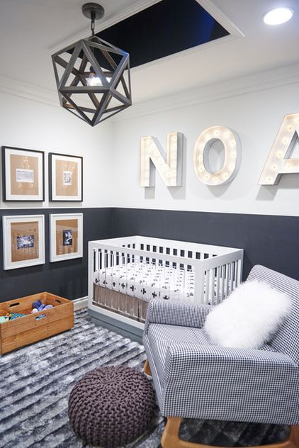Grey baby room, love the chair, crib & light fitting