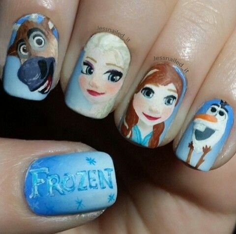 Amazing Frozen nail art!! This is getting out of hand! I need to go ANNA frozen break. Please visit our website @ http://rainbowloomsale.com