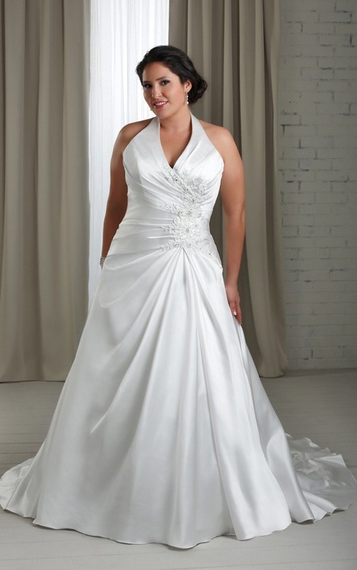 Tropical Halter Satin Sleeveless Court Train white A-line Plus Size Wedding Dresses - Formal Wedding Dresses - Wedding Dresses