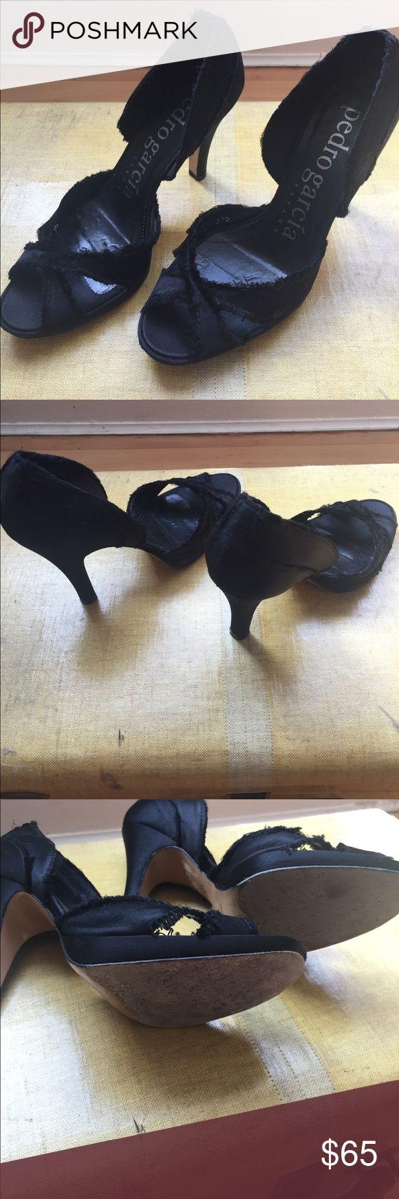 Black Satin Pedro Garcia Heels Frayed black satin Pedro Garcia Delores Heels. Ships w original box and dust bag. Pedro García Shoes Heels