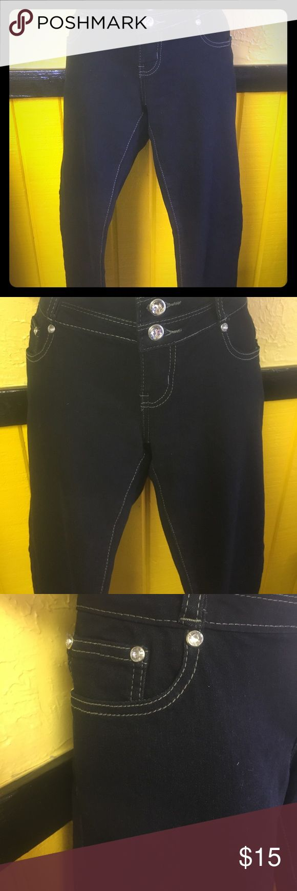 Women's Jeans Women's dark Jeans bling 3 Button closure with zipper straight leg cotton,Polyester,Spandex Material high waisted jeans 4 pockets great looking jeans @ a great price Richcow Jeans Straight Leg