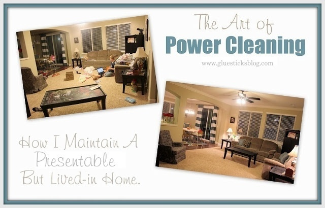 Here is my one true tip for a clean and presentable home without getting overwhelmed. Power cleaning. It doesn't make the house spotless, but it does help maintain it.     I am sharing how I use it our home, being a stay at home mom of 4, but power cleaning it is great for ANY household.