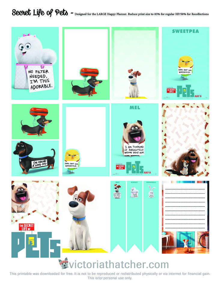 Free Printable Pets Planner Stickers   Victoria Thatcher