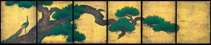 狩野探幽 : 松に孔雀図壁貼付・襖