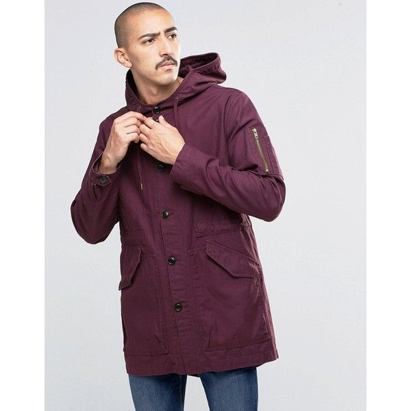 ASOS Lightweight Fishtail Parka In Burgundy (£54) ❤ liked on ...