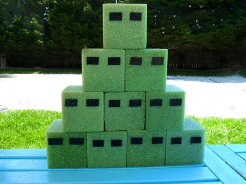 Minecraft Party | minecraft game - foam from dollar store, shoot with bows and arrows