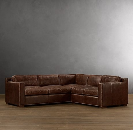 Leather sectional restoration hardware haus pinterest for Small sectional sofa restoration hardware