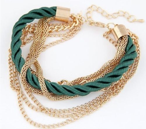 #Handmade Gold Plated Chain #Braided Rope Multilayer #Bracelet Price $8.95 #casual #smart . Http://sherkart.com.au