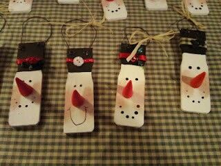 Cute little ornaments made from paint stir sticks