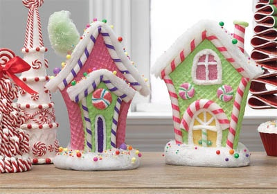 "RAZ 11"" Pink and Green Gingerbread House Set of 2"