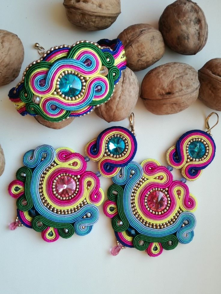 MirSi handmade jewels: Handmade multicolour soutache earrings and bracelet made with Swarovski rivoli and gold seed beads