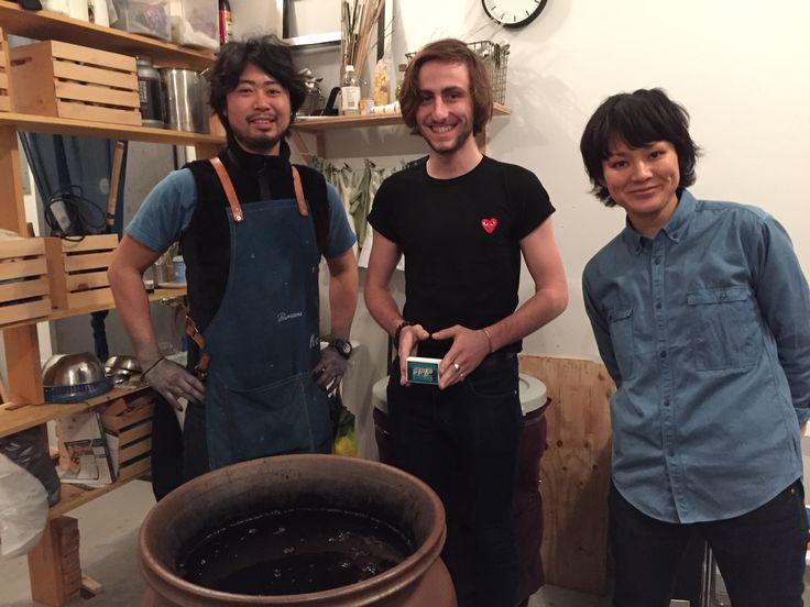 Master dyer Kenta Watanabe from BOUAISOU, my son Charles and Sayaka Toyama from BOUAISOU Brooklyn in front of a sukumo indigo vat, teaching Charles the art of Japanese traditional indigo dyeing.
