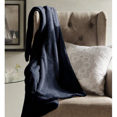Myrcella Textured Fleece Throw, Blue