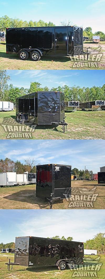 heavy equipment: New 2017 7X16 Blackout Black Out V Nosed Enclosed Cargo Motorcycle Trailer Ramp -> BUY IT NOW ONLY: $3495 on eBay!