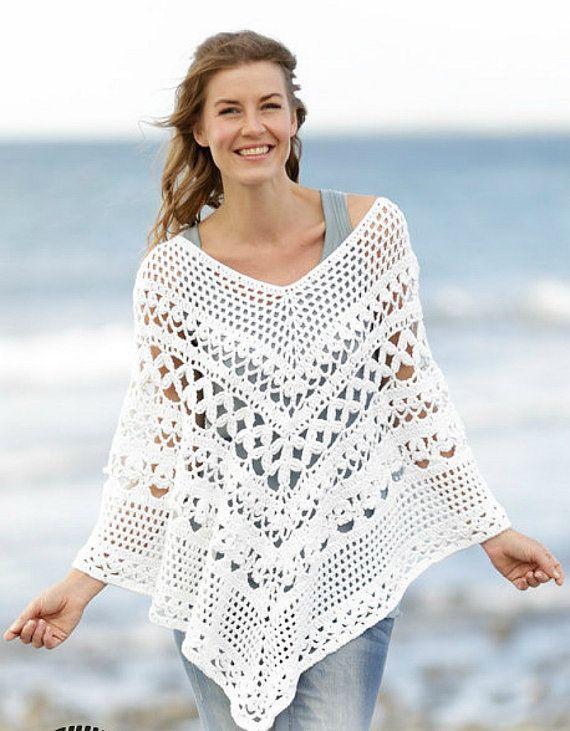 Women\'s Crochet Poncho Pink Poncho Crochet Cotton poncho Plus Size ...