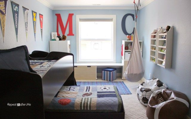 Boring to Bold Boys Sports Themed Bedroom - Repeat Crafter Me