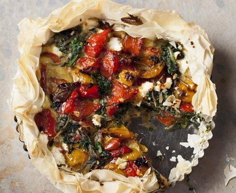 Spinach, sweet pepper and feta phyllo tart is the perfect recipe with red capsicum pepper. Find these and other red capsicum pepper recipes on EatOut