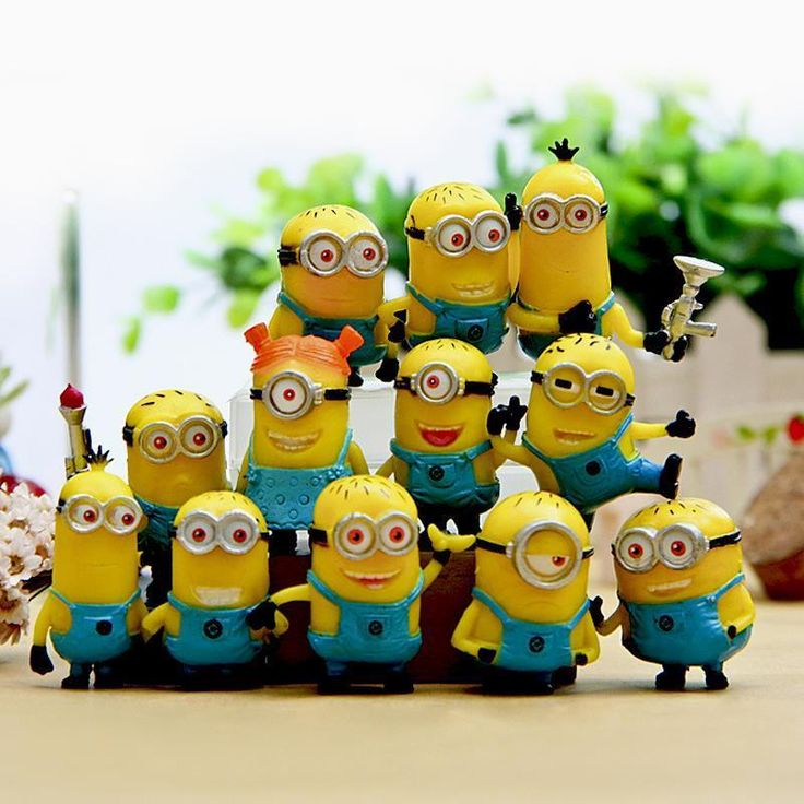TOY SET 12PCS/SET DESPICABLE ME 2 MINION IN ACTION FIGURES MINIONS TOYS DOLL  #New