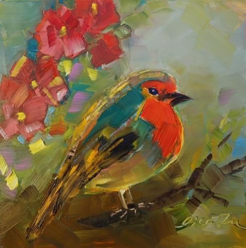 """Daily Paintworks - """"Flower and bird"""" - Original Fine Art for Sale - © Lisa Fu"""