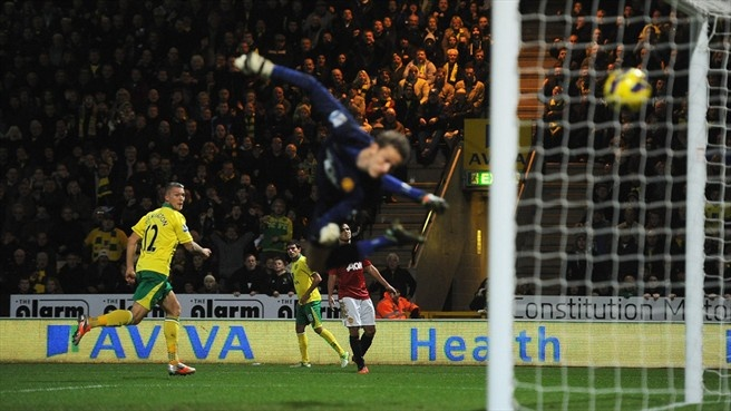 Anthony #Pilkington (Norwich City FC)  Anthony Pilkington of Norwich City FC scores the opening goal past goalkeeper Anders Lindegaard (R) of Manchester United FC during their English Premier League match
