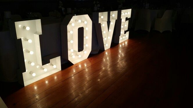 Love Sign in front of Table