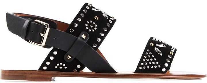 Pin for Later: 23 Sandals That Look Great — and Feel Even Better Valentino Flat Sandals Valentino Garavani 'Microstuds' flat sandals ($697)