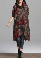 Long Sleeve Asymmetric Hem Plaid Print Shift Dress | lulugal.com - USD $28.74