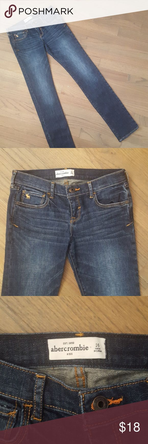 Abercrombie Girls Skinny Jeans Perfect Condition Perfect, like new condition. Stylish, subtle whiskering. Dark wash with slight fade. 99% cotton with a little stretch for comfort Abercombie Kids Bottoms Jeans