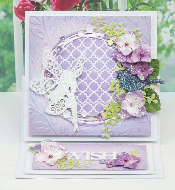Tattered Lace Dies, Starlight Collection Using - Starlight Circle (D593), Ferns (D590), Trellis Border (D571), Best Wishes Classic (D595)